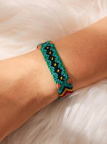 Color-block Woven Bracelet 1pc