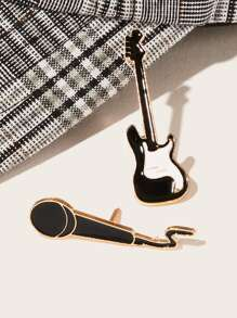 Guitar & Mic Shaped Brooch 2pcs