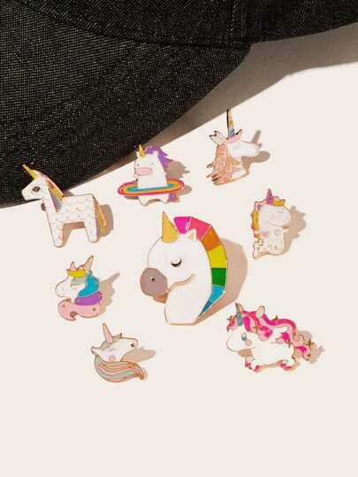 Cartoon Animal Shaped Brooch 8pcs