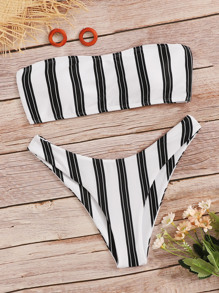 Striped Bandeau Top With High Cut Bikini Set