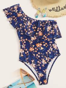 Floral One Shoulder Flounce One Piece Swimsuit
