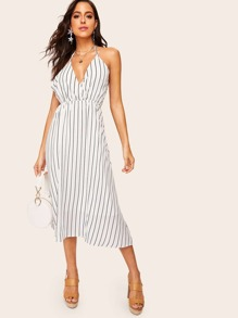 Surplice Striped Backless Halter Dress