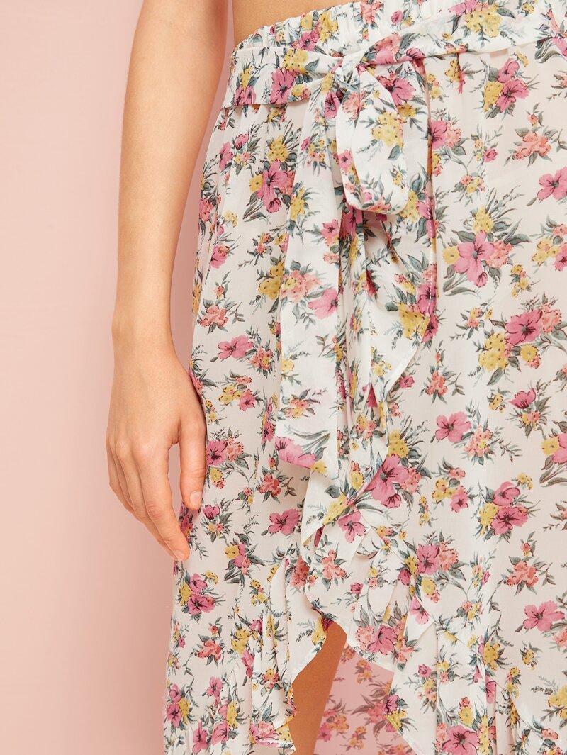 9bd2efe1f Falda bajo tulipán con cordón delantero floral de margarita