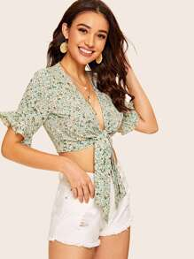 Ditsy Floral Tie Front Flounce Sleeve Crop Top
