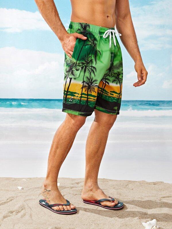 849df84949ecb6 Männer Bermuda Shorts mit Kokosnussbäume Muster