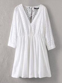 Eyelet Embroidery Knot Back Dress