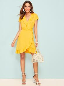 Ruffle Trim Knot Side Wrap Dress
