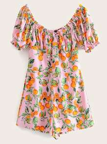 Off-shoulder Fruit Print Romper
