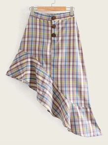 Plaid Asymmetric Ruffle Hem Skirt