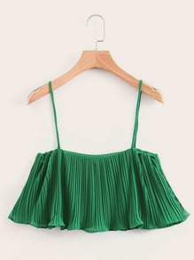 Pleated Chiffon Crop Cami Top