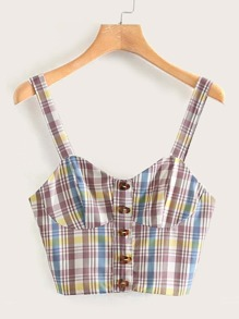 Plaid Button Front Cami Top