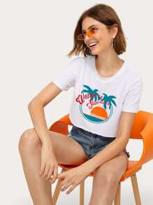 Coconut Trees & Letter Print Crop Tee