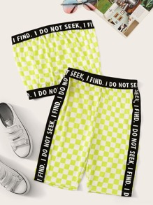 Contrast Slogan Trim Checkered Bandeau With Cycling Shorts