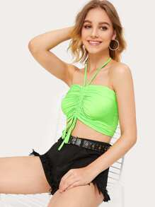 Drawstring Front Halter Neon Crop Top