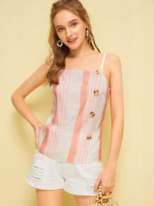 Button Front Striped Cami Top