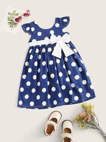 Toddler Girls Bow Front Polka Dot Babydoll Dress