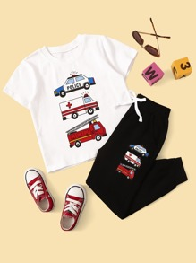 Toddler Boys Car Print Tee With Sweatpants