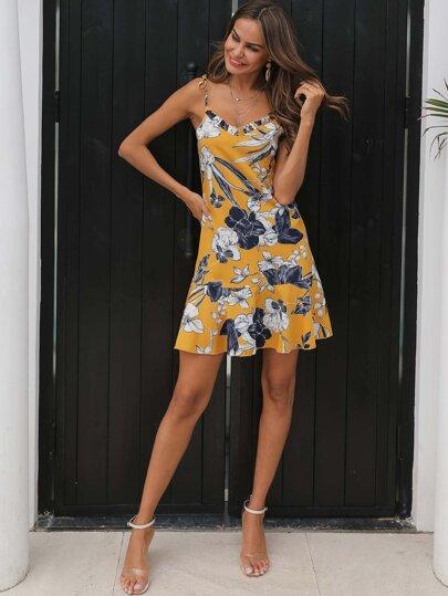 bead4442d Floral Print Frill Ruffle Hem Cami Dress