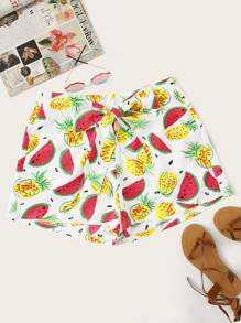 Plus Fruit Print Shorts