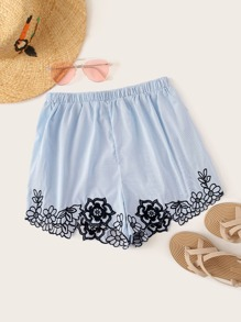 Striped Floral Embroidered Shorts