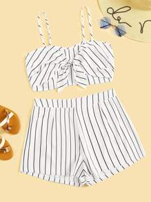 Plus Knot Striped Cami Top With Shorts