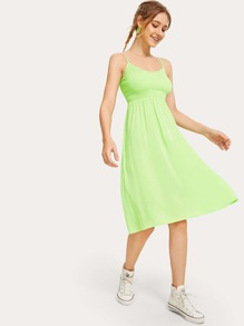 Neon Lime Shirred Solid Cami Dress