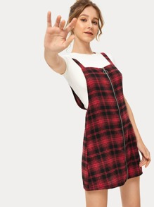 Plaid Print Zip Through Pinafore Dress