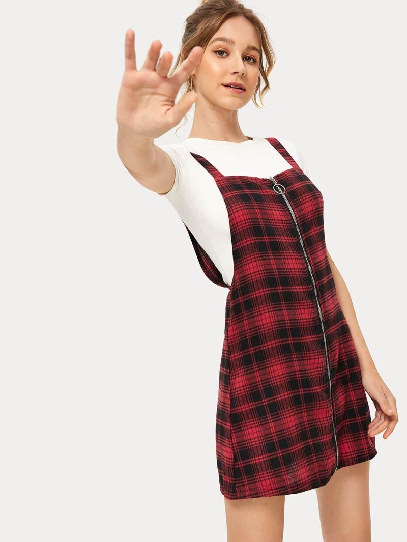 ef5c6b32a Vestido pichi con cremallera con estampado de cuadros