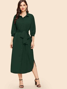 Curved Hem Belted Midi Shirt Dress