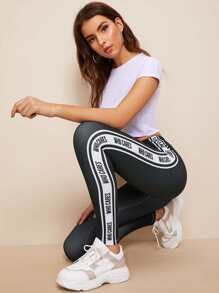 Letter Print Tape Side Elastic Waist Leggings