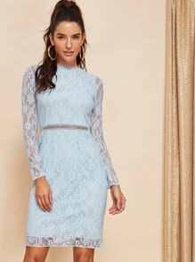 Lace Overly Crochet Trim Dress