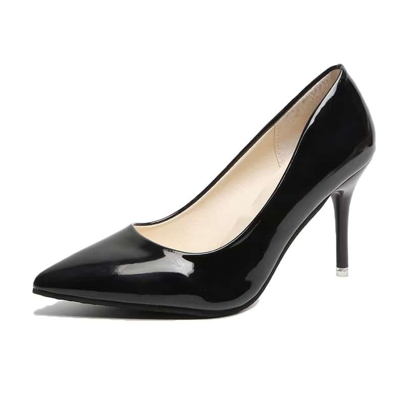 Черные Лаковые Туфли Лодочка На Высоком Каблуке от SHEIN