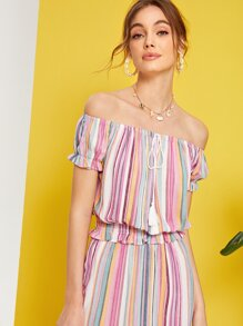 Off Shoulder Tassel Knot Front Shirred Ruffle Hem Blouse