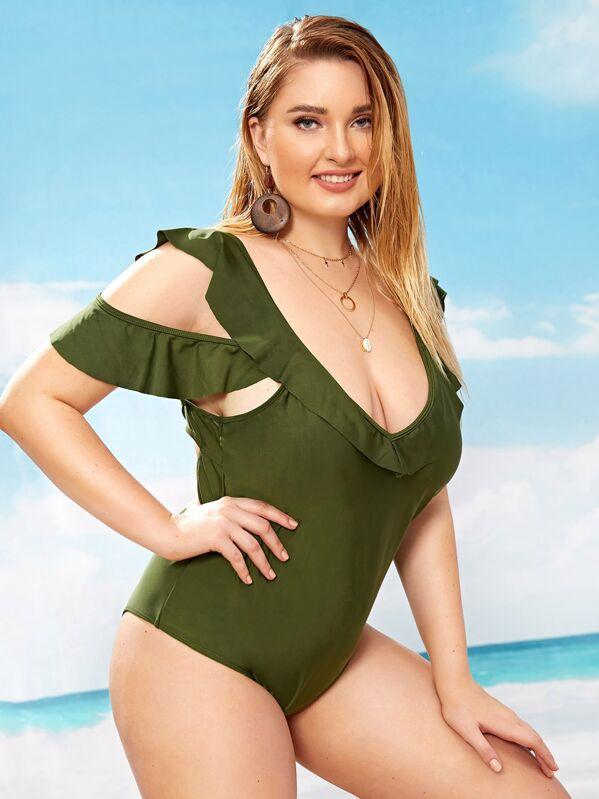 7a1cfc8be0 Plus Cold Shoulder Ruffle One Piece Swimwear | SHEIN