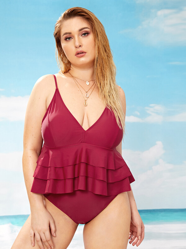 b685d9345e6 Plus Layered Ruffle One Piece Swimwear | SHEIN