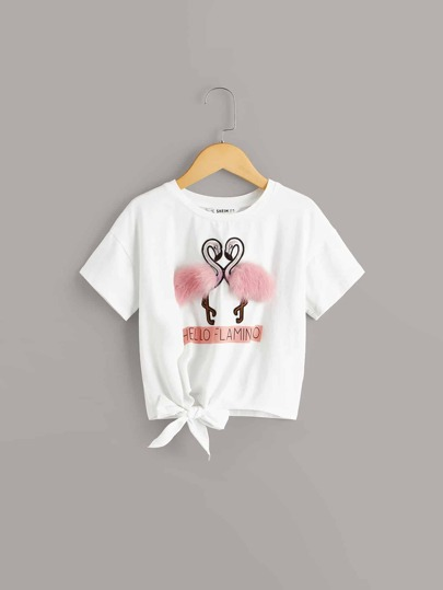 Girls Flamingo With Faux Fur Detail Tee