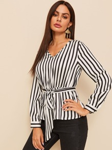 Striped Belted Peplum Top