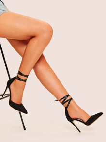 Tie Leg Point Toe Heels