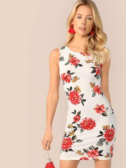 4a33c5c594 Floral Print Bodycon Tank Dress