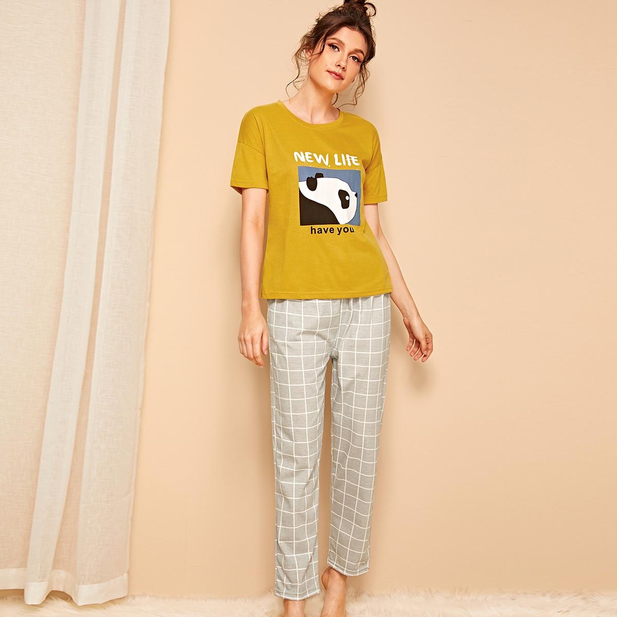 Пижамы в клетку с оригинальным принтом