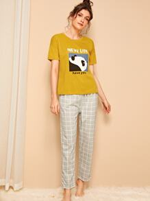 Panda & Letter Print Plaid PJ Set