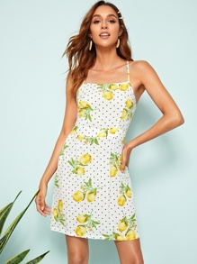 Crisscross Back Fruit & Dot Print Slip Dress