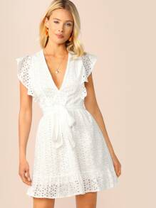 Plunging Neck Ruffle Armhole Schiffy Dress