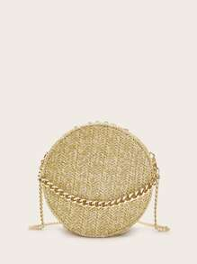 Chain Strap Round Braided Crossbody Bag