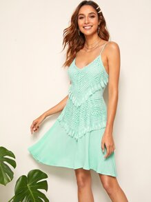 Guipure Lace and Tassel Trim Cami Dress