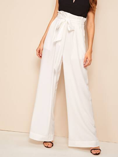 13cb74107ce1 Belted Paperbag Waist Wide Leg Pants