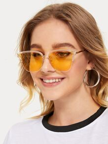 Metal Frame Square Tinted Lens Sunglasses