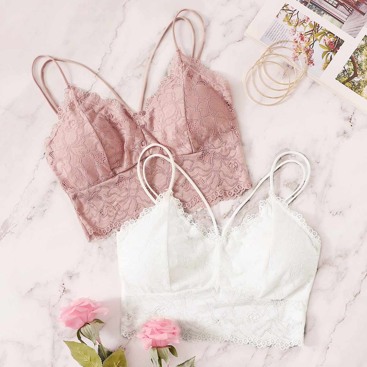 SHEIN coupon: Floral Lace Criss Cross Bra Set 2pack