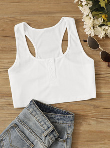 Ribbed Popper Crop Top