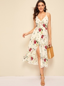 Knotted Backless Wrap Floral Cami Dress